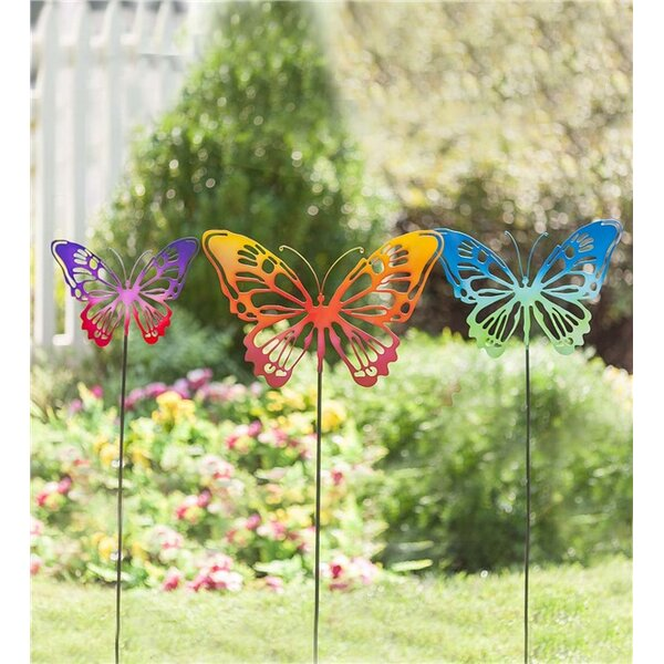 Butterfly 3 Piece Garden Stake Set (Set of 3) by Plow & Hearth