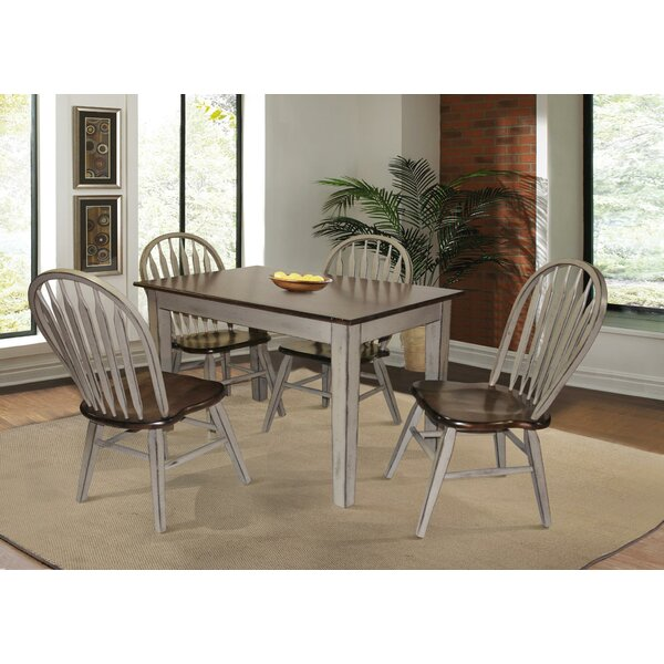 Adalberto 5 Piece Solid Wood Dining Set by August Grove