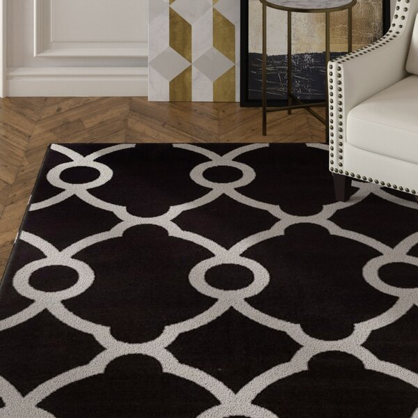 Brookdale Modern Gray/Black Indoor/Outdoor Area Rug by House of Hampton