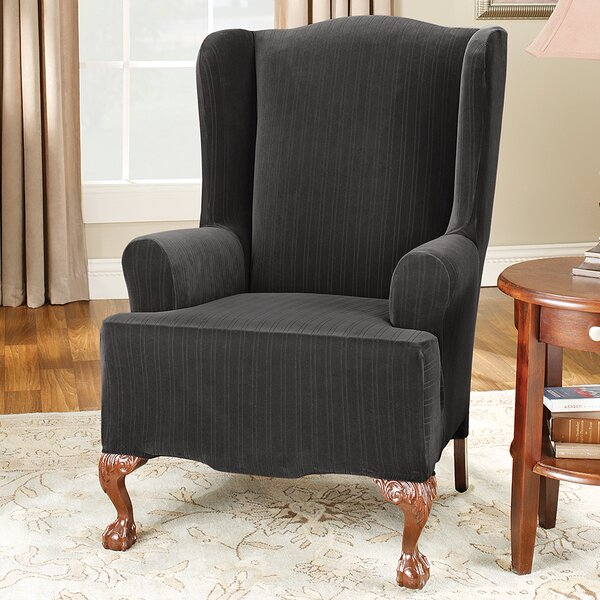 Discount Stretch Pinstripe T-Cushion Wingback Slipcover