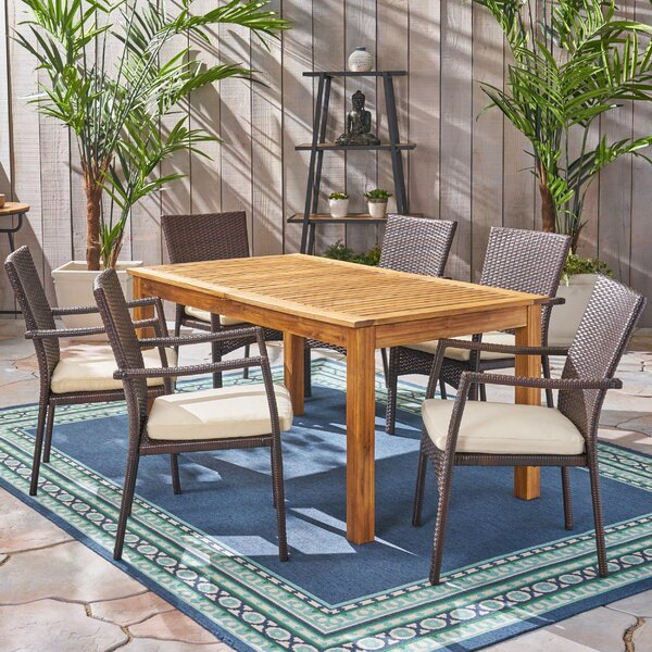Jolliff Outdoor Expandable 7 Piece Dining Set with Cushions by Brayden Studio
