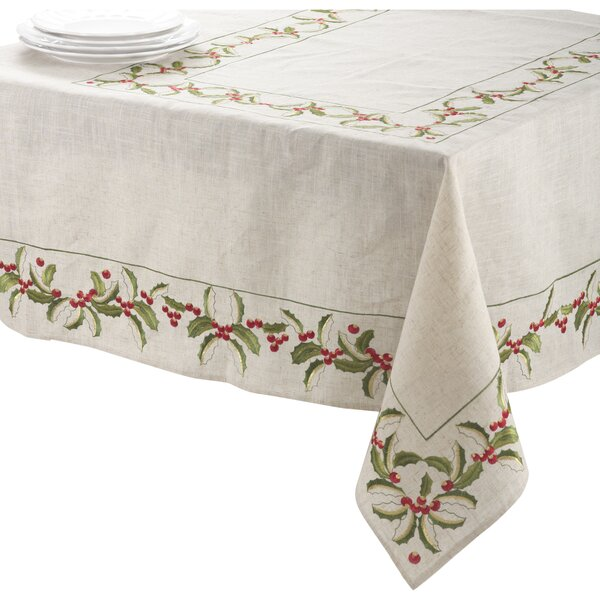 Embroidered Holly Tablecloth by The Holiday Aisle