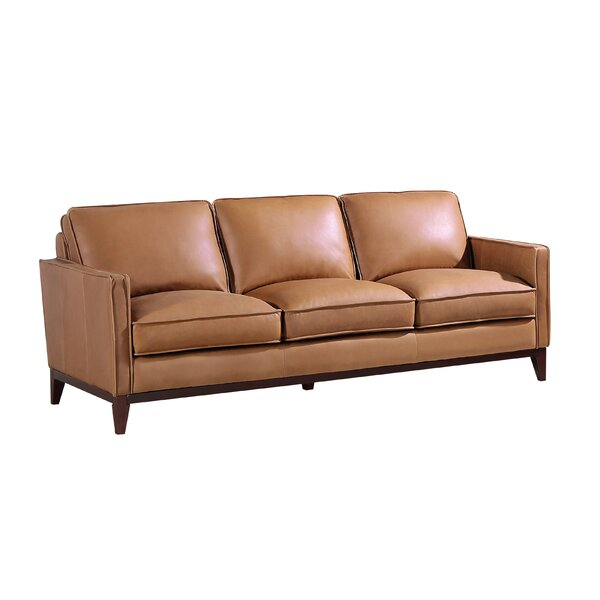 Uzay Genuine Leather 59'' Square Arm Sofa By Red Barrel Studio