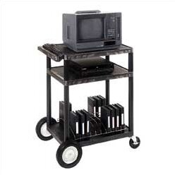 High Low Priced Table AV Cart with Locking Cabinet/Big Wheels/Electric by Luxor