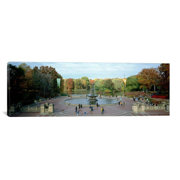 Panoramic Bethesda Fountain, Central Park, Manhattan, New York City, New York State Photographic Print on Canvas by iCanvas