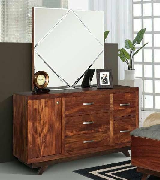 Aurora 5 Drawer Combo Dresser with Mirror by REZ Furniture