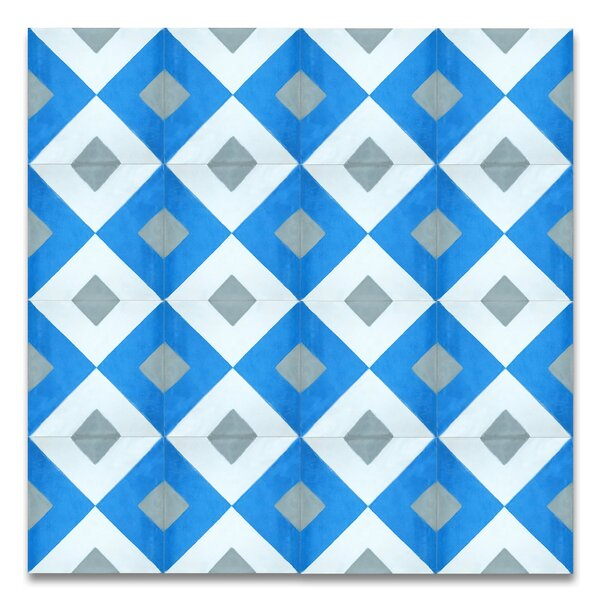 Jadida 8 x 8 Handmade Cement Tile in Blue and White by Moroccan Mosaic