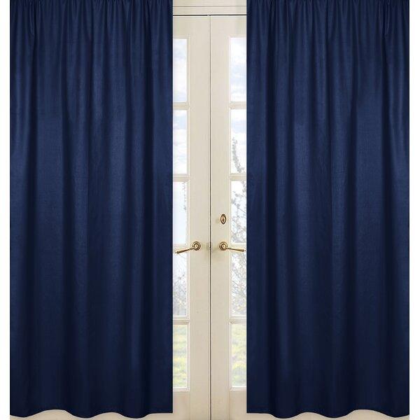 Plaid Solid Semi-Sheer Rod Pocket Curtain Panels (Set of 2) by Sweet Jojo Designs