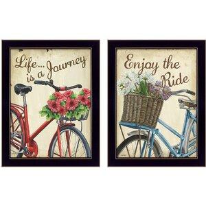 'Vintage Bicycles' 2 Piece Framed Graphic Art Print Set by Trendy Decor 4U