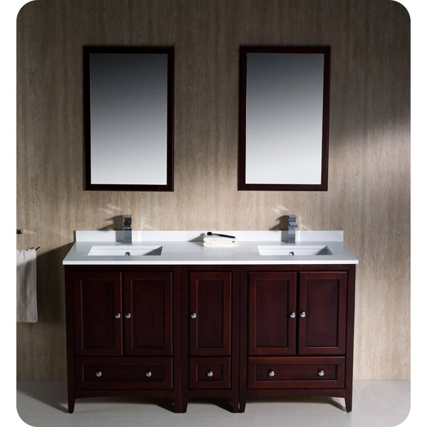 Oxford 60 Double Bathroom Vanity Set with Mirror by Fresca