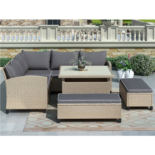 Higden 6 Piece Rattan Sectional Seating Group with Cushions