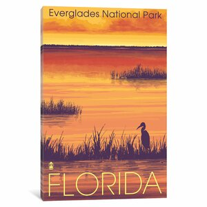 'U.S. National Park Service Series: Everglades National Park (Tropical Wilderness Sunset)' Vintage Advertisement on C... by East Urban Home