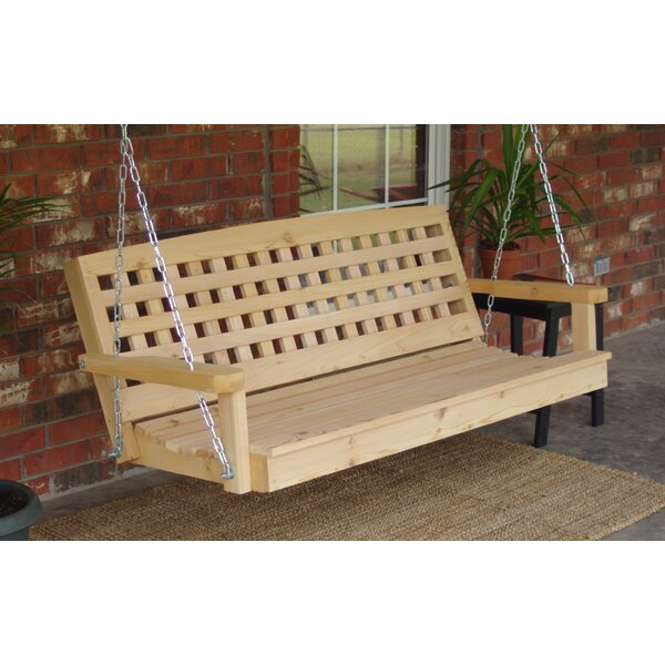 Hinderliter Lattice Back Cedar Porch Swing by Highland Dunes