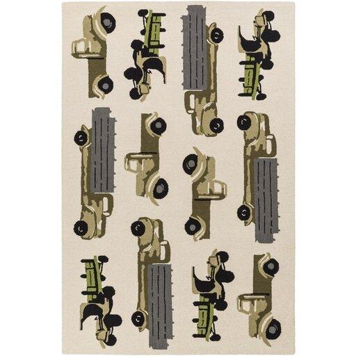 Blossom Hand-Hooked Neutral/Black Area Rug by Zoomie Kids