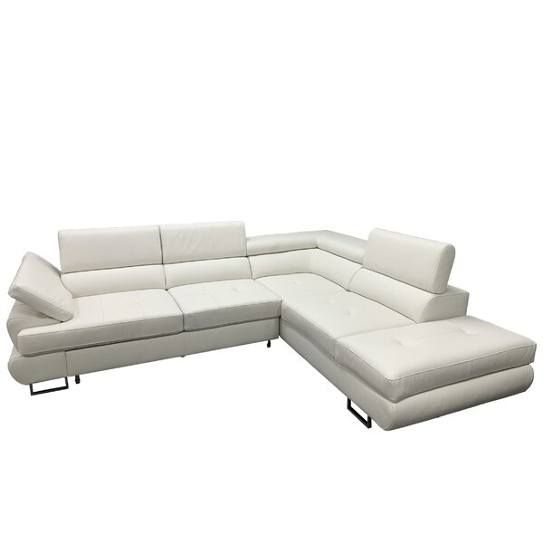 Shirleen Leather Sleeper Sectional by Orren Ellis