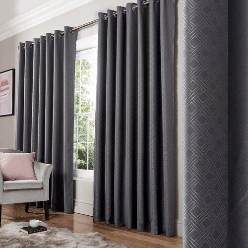 Bertram Eyelet Room Darkening Thermal Curtains Three Posts C