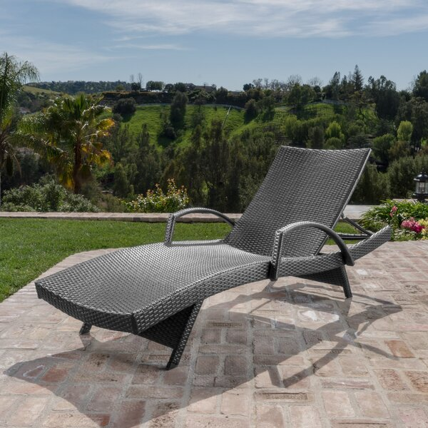 Rebello Outdoor Wicker Armed Reclining Chaise Lounge