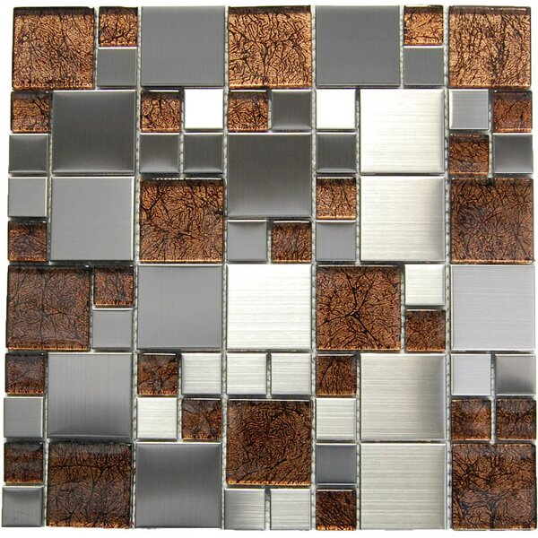 Random Sized Mixed Material Mosaic Tile in Brown/Gray by Luxsurface