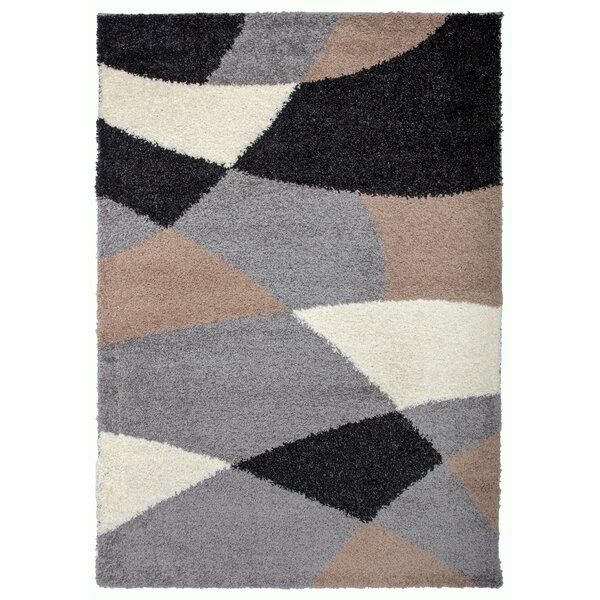 Samantha Cozy Shag Modern Geometric Shapes Beige Area Rug by Ebern Designs