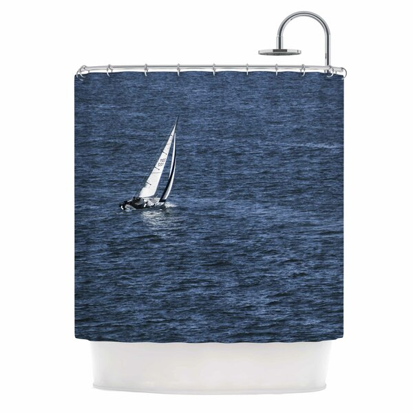 Boat On The Ocean by Nick Nareshni Shower Curtain by East Urban Home