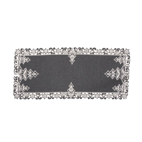 Iker Christmas Tree Embroidered Cutwork Table Runner by The Holiday Aisle