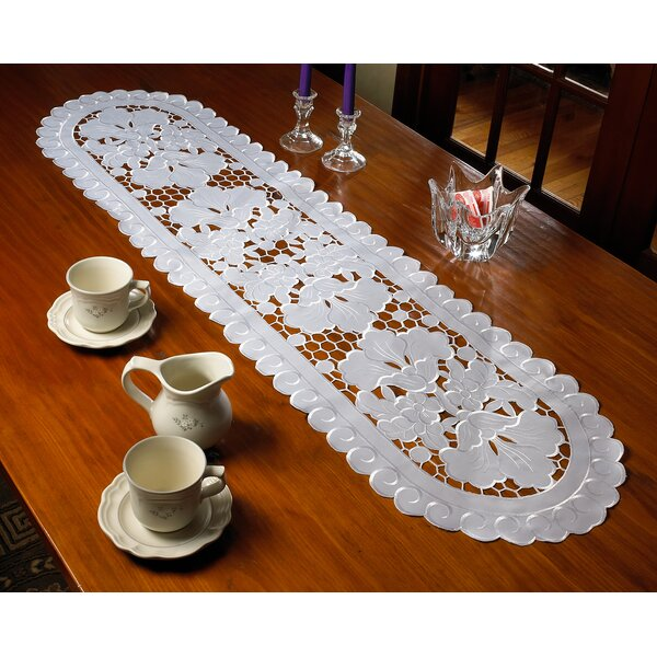 Solano Embroidered Cutwork Lace Table Runner by Lark Manor