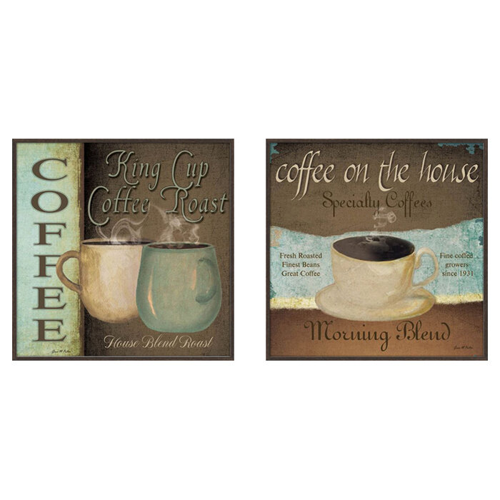 Andover Mills \'Kitchen Coffee Label\' 2 Piece Framed Vintage ...