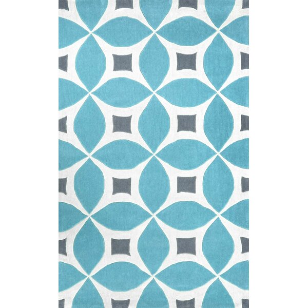 Arverne Hand-Tufted Baby Blue/White Area Rug by Langley Street