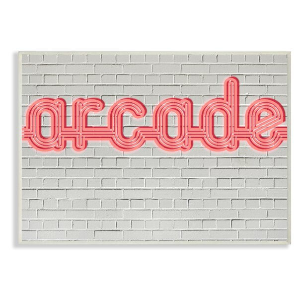 Arcade Graphic Sign On Brick Background Oversized Textual Art by Stupell Industries