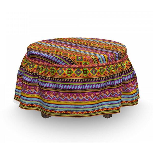 On Sale Mexican Folk Vintage Geometric 2 Piece Box Cushion Ottoman Slipcover Set
