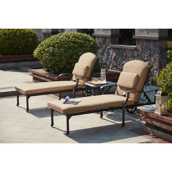 Waconia Reclining Chaise Lounge with Cushion (Set of 2)