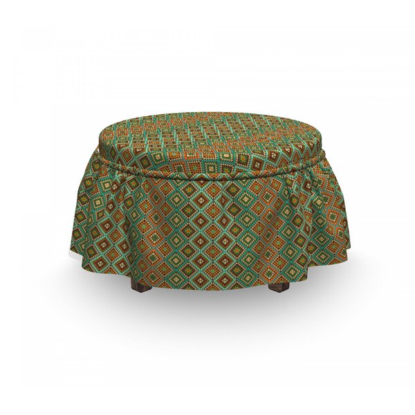 Ethnic Mosaic Folkloric Ethnic 2 Piece Box Cushion Ottoman Slipcover Set By East Urban Home