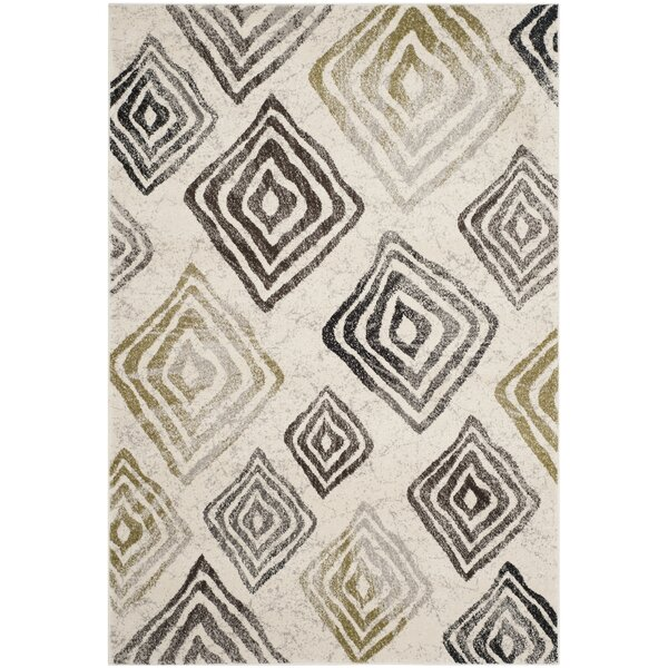 Shroyer Geometric Ivory/Black Area Rug by Wrought Studio