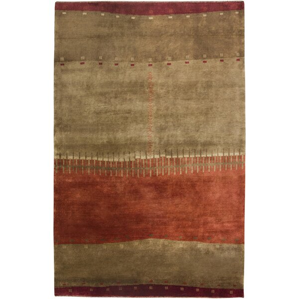 Upleta Hand-Knotted Brown Area Rug by Meridian Rugmakers