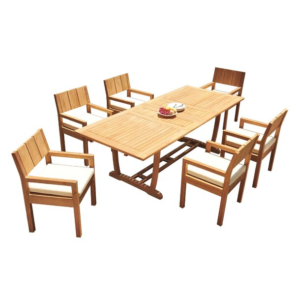Laskie 7 Piece Teak Dining Set by Rosecliff Heights