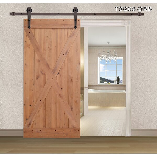 X Overlay Primed Sliding Solid Wood Panelled Slab Interior Barn Door by Calhome
