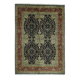 Check Prices One-of-a-Kind Ruelas New Zealand 300 Kpsi Revival Hand-Knotted Black Area Rug By Astoria Grand