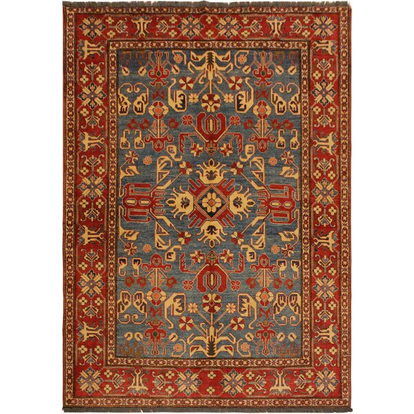 One-of-a-Kind Fiona Super Kazak Hand-Knotted Wool Light Blue/Red Area Rug by Astoria Grand