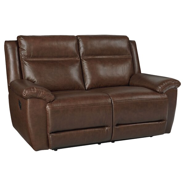 Discounts Maricopa Manual Motion Leather Reclining Loveseat by Loon Peak by Loon Peak