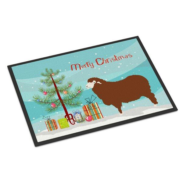 Merino Sheep Christmas 36 in. x 24 in. Non-Slip Outdoor Door Mat