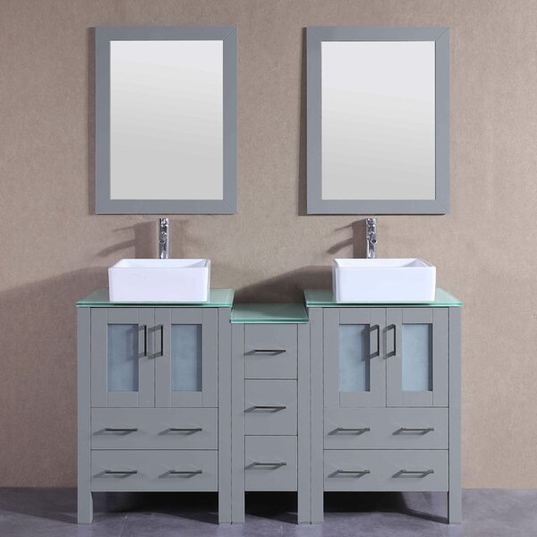 Newtown 60 Double Bathroom Vanity Set with Mirror by Bosconi