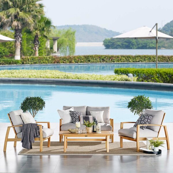Reanna 4 Pieces Deep Seating Group with Cushions by Rosecliff Heights