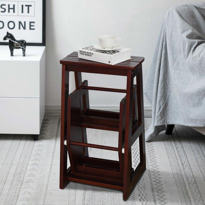Carlson Folding 3 Step Wood Stool With 200 Lb Load Capacity