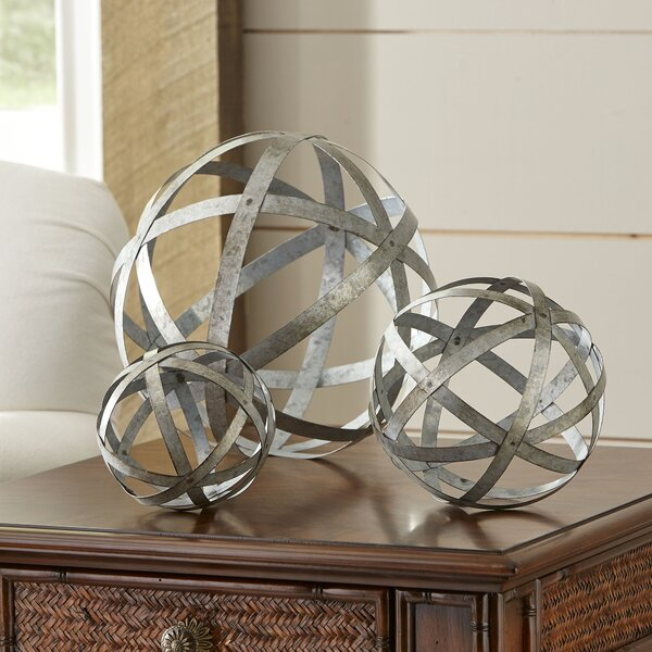 3 Piece Galvanized Sphere Silver Sculpture Set by Laurel Foundry Modern Farmhouse