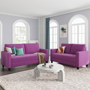 Modern Velvet 2 Piece Living Room Sofa Set For Home Or Office With Loveseat And 3-Seater Couch, Purple by Ebern Designs