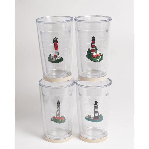 Newport Lighthouse Non-skid 4 Piece 16 oz. Plastic Every Day Glass Set by Galleyware Company