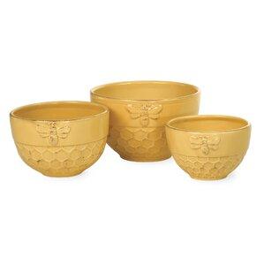 Honeycomb 3 Piece Ceramic Nesting Bowl Set