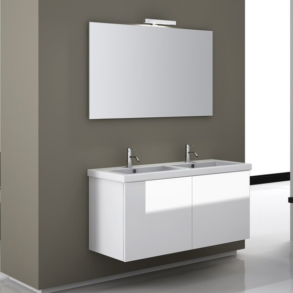 Space 47 Double Wall Mount Bathroom Vanity Set with Mirror by Iotti by Nameeks