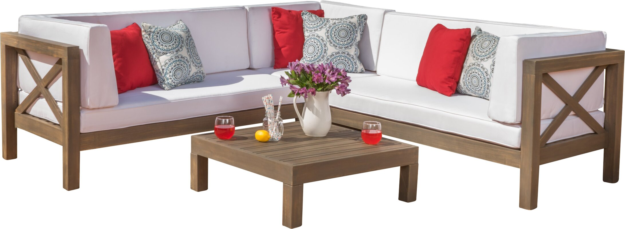 Lejeune 4 Piece Sofa Set With Cushion