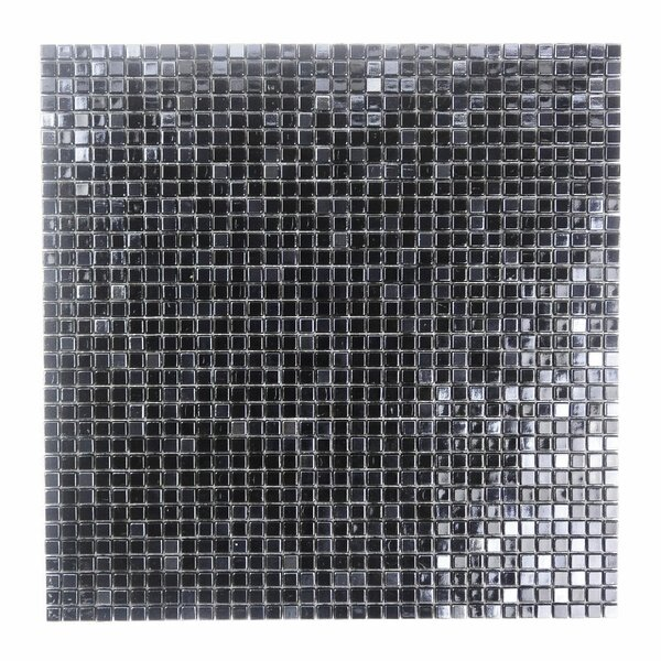 Galaxy Straight 0.31 x 0.31 Glass Mosaic Tile in Dark Gray by Abolos